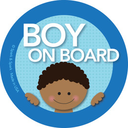 Cool Baby On Board Sticker w African American Boy | Spark