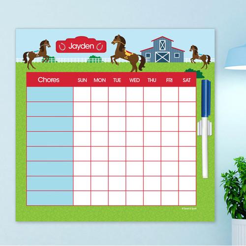 Cute Race Horse Kids Chore Chart
