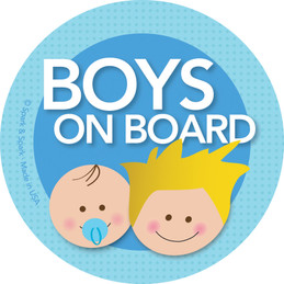 Baby On Board Car Sticker - Blonde Boy+Baby
