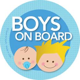 Baby On Board Car Decal with Blonde Boys  | Spark & Spark