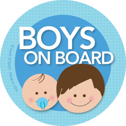 Baby On Board Sticker with Brunette Boys