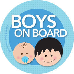 Baby On Board Stickers - Black Hair Boy+Baby