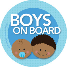 Baby On Board Sticker - Afr. Amer. Boy+Baby
