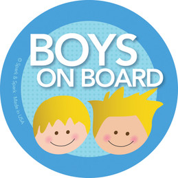 Cute Baby In Car Sticker with Blonde Boys | Spark & Spark