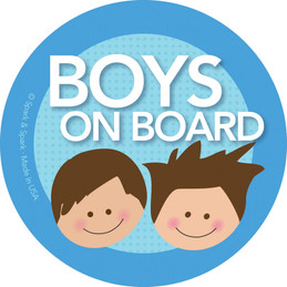 Baby On Board Sticker For Car with Brunette Boys | By Spark
