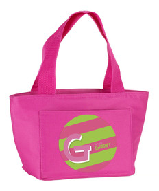 Double Initial + Stripes (Pink) Kids Lunch Tote