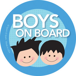 Baby On Board Car Sign with Black Hair Boys | Spark & Spark