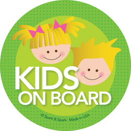 Baby On Board Car Decal with Blonde Brother & Sister | Spark & Spark