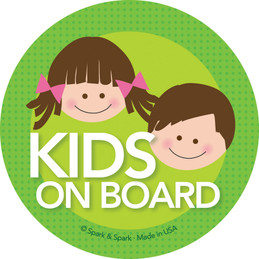 Baby On Board Sticker with Brunette Sister & Brother | Spark
