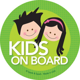 Cute Baby On Board Decal with Black Hair Brother & Sister