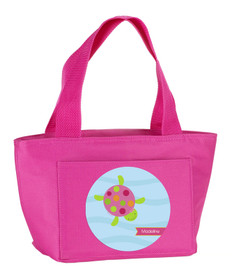 Swimming Pink Turtle Kids Lunch Tote