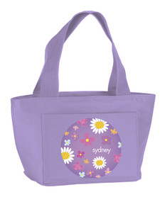 Cute Daisies on Purple Kids Lunch Tote