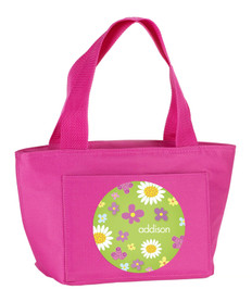Cute Daisies on Green Kids Lunch Tote