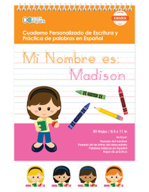 Spanish Vertical Writing Book For Girls