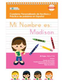 Spanish Vertical Writing Book For Girls
