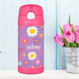 Purple Field Of Flowers Personalized Thermos For Kids
