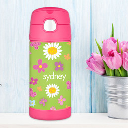 Green Field Of Flowers Personalized Thermos For Kids