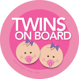 Cute Baby In Car Sticker with Brunette Twin Girls by Spark