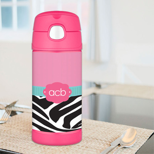 Zebra And Pink Personalized Thermos For Kids