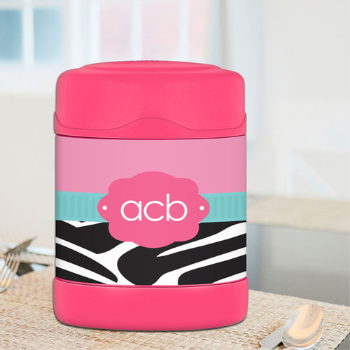 A cute Zebra and Pink design for your very own personalized thermos food jar