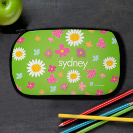 Green Field Of Flowers Personalized Pencil Case For Kids