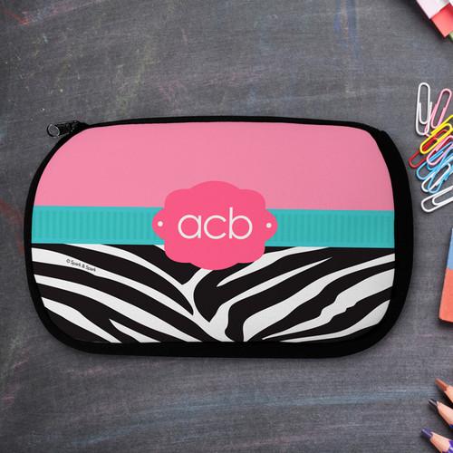 Zebra And Pink Monogrammed Pencil Case For Kids