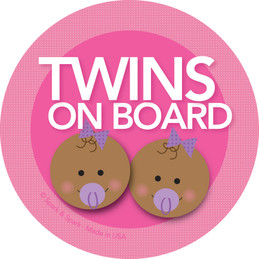 On Board Stickers - Afr. Amer. Twin Girls