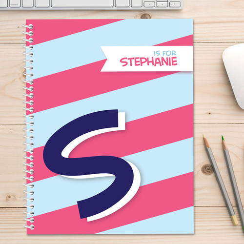 Blue Double Initial and Stripes Kids Notebook