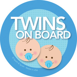 Super Cute Baby On Board Car Decal with Brunette Twin Boys