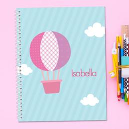 Pink Hot Air Balloon Kids Notebook