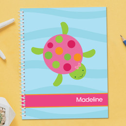 Swimming Pink Turtle Kids Notebook