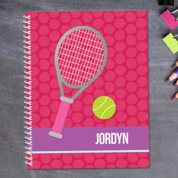 pink tennis raquet and ball personalized notebook for kids