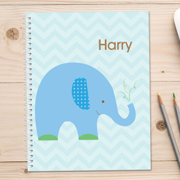 blue baby elephant personalized notebook for kids
