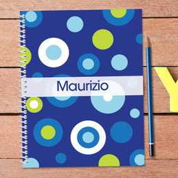 blue circles personalized notebook for kids