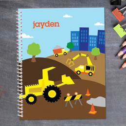 construction site personalized notebook for kids