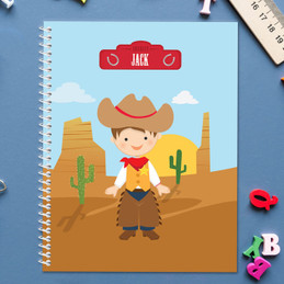 brunette cowboy personalized notebook for kids