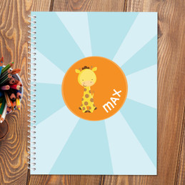 cute baby giraffe personalized notebook for kids