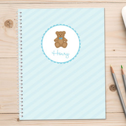 Cute Blue Teddy Bear Kids Notebook