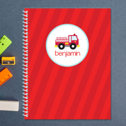 cute little firetruck personalized notebook for kids