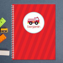 cute little firetruck personalized notebook for kids