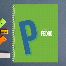 Double Initial Green Kids Notebook