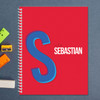 red double initial personalized notebook for kids