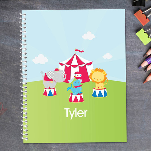 fun circus animals personalized notebook for kids