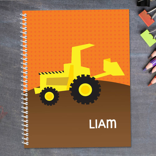 fun tractor personalized notebook for kids