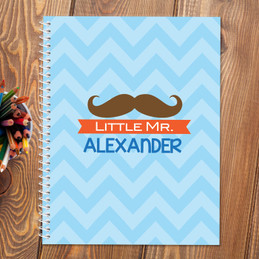little mr. mustache personalized notebook for kids