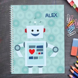 robot personalized notebook for kids