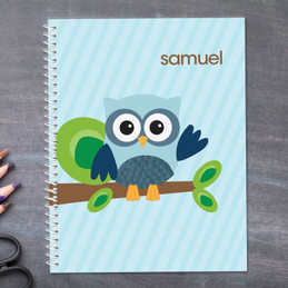 blue owl personalized notebook for kids