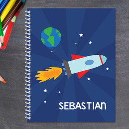rocket in space personalized notebook for kids