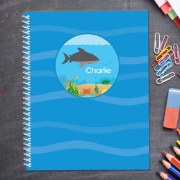 shark waves personalized notebook for kids