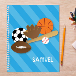 multi sports personalized notebook for kids